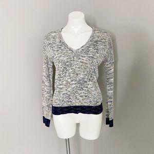 Rag & Bone Grey and Navy V Neck Sweater